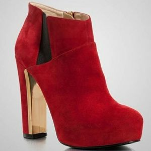 GUESS Coreline High Heel Ankle Boots Red Suede